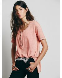 Free People - Red We The Free Downtown Girl Henley - Lyst
