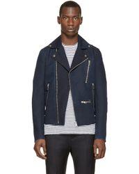 DIESEL Blue Navy J-gibson-d Biker Jacket for men