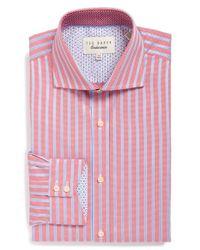 Ted Baker - Blue 'maccy' Trim Fit Stripe Dress Shirt for Men - Lyst