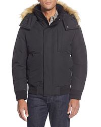 Andrew Marc - Black 'bristol' Hooded Bomber With Faux Fur Trim for Men - Lyst