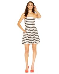 RACHEL Rachel Roy - Black Strapless Striped Pleated Flared Dress - Lyst