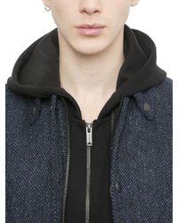 Miharayasuhiro Blue Wool Tweed & Leather Bomber Jacket for men