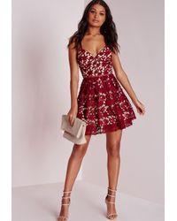 Missguided   Purple Petite Lace Skater Dress Burgundy   Lyst