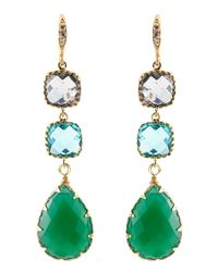 Indulgems | Green Onyx & Glass 3-Drop Earrings | Lyst