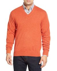 Peter Millar | Orange High Twist Cashmere V-neck Sweater for Men | Lyst