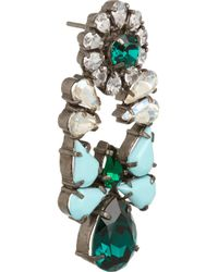 Shourouk | Green Mia Gunmetaltone Crystal Earrings | Lyst