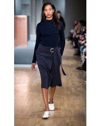 Tibi Blue Suede Wrap Skirt