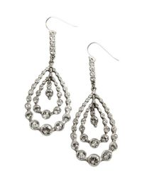 Ben-Amun | Metallic Silver And Crystal Tiered Teardrop Loop Earrings | Lyst