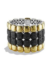 David Yurman | Black Chiclet Limited-edition Four-row Bracelet In Gold | Lyst