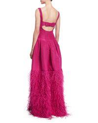 Oscar de la Renta - Pink Sleeveless Ruched-neck Silk Faille Gown - Lyst