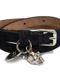 Alexander McQueen - Blue Losange Stamped Leather Double Wrap Skull Bracelet - Lyst