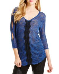 Jessica Simpson | Blue Cutout Sleeve Sweater | Lyst