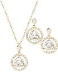 Swarovski - Metallic Gold-tone Crystal Necklace And Earrings Set - Lyst