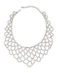Kenneth Jay Lane - Metallic Scalloped-lace Crystal Bib Necklace - Lyst
