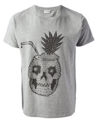 Saint Laurent Gray Tiki Cocktail Print Tshirt for men
