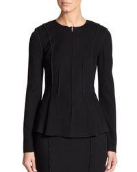 St. John | Black Milano Flared Knit Jacket | Lyst