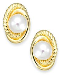 Majorica | Metallic Gold-tone Steel Manmade Pearl Love Knot Stud Earrings | Lyst