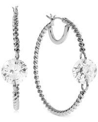 Betsey Johnson | Metallic Silver-tone Crystal Twist Hoop Earrings | Lyst