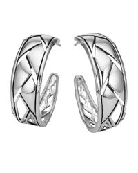 John Hardy - Metallic Silver Bamboo Shoot Hoop Earrings - Lyst