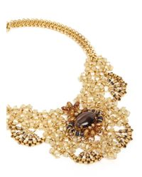 Miriam Haskell Metallic Glass Assemblage And Centre Stone Gold Necklace