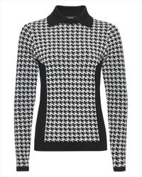 Jaeger - Black Mini Houndstooth Sweater - Lyst