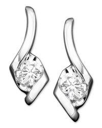 Sirena | Metallic Diamond Drop Earrings In 14k White Gold (1/2 Ct. T.w.) | Lyst