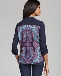 Adrianna Papell - Multicolor Placement Print Henley Top - Lyst