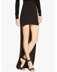 Halston - Black Hi Lo Satin Skirt - Lyst