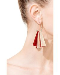 Marni - Red Wood, Resin, And Brass Earrings - Lyst