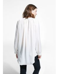 Mango - White Ruched Neck Blouse - Lyst