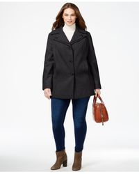 London Fog - Gray Plus Size Layered-collar Peacoat - Lyst