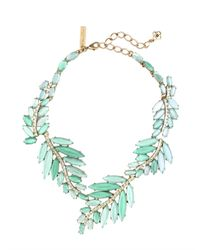 Oscar de la Renta - Green Marquise Stone Resin Leaf Necklace - Lyst