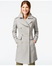 Vince Camuto Gray A-line Military Walker Coat