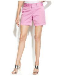 INC International Concepts - Pink Twill Cuffed Shorts - Lyst