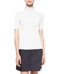 Theory - White Cruzio Short-sleeve Mock-neck Top - Lyst