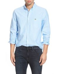 Lacoste | Blue Regular Fit Oxford Woven Shirt for Men | Lyst