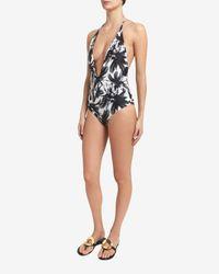 Mikoh Swimwear Black Palm Tree Print Halter Swimsuit- Final Sale