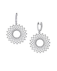 Effy | Metallic Diamond And 14k White Gold Burst Drop Earrings, 1.1 Tcw | Lyst