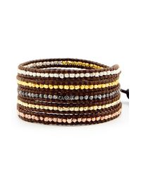 Chan Luu | Nugget Wrap Bracelet On Brown Leather | Lyst