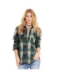 Denim & Supply Ralph Lauren - Green Plaid Cotton Flannel Shirt - Lyst