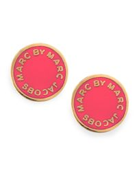 Marc By Marc Jacobs - Metallic Enamel Logo Disc Stud Earrings Hot Pink - Lyst