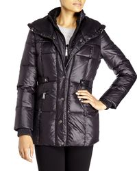 DKNY - Black Pillow Collar Down Coat - Lyst