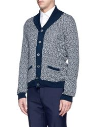Incotex - Blue Contrast Collar Cotton-Linen Cardigan for Men - Lyst