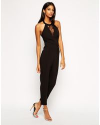 100961304f Lyst - Lipsy Michelle Keegan Loves Jumpsuit With Lace Halterneck in ...