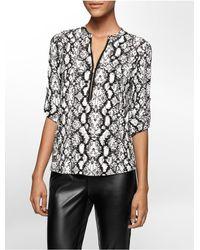 Calvin Klein | Multicolor Animal Print Mandarin Collar Roll-up Sleeve Top | Lyst