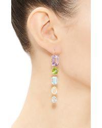Renee Lewis Yellow One Of A Kind Five Part Amethyst Peridot Aqua Topaz Kunzite Syn Spinel Citrine Earrings