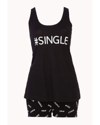 Forever 21 Black Hashtag Single Pj Set