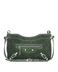Balenciaga Green Giant Hip Suede Shoulder Bag