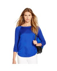 Polo Ralph Lauren | Blue Charmeuse-front Raglan Top | Lyst