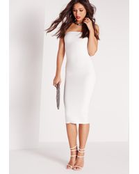 Missguided Strapless Bandage Bodycon Midi Dress White